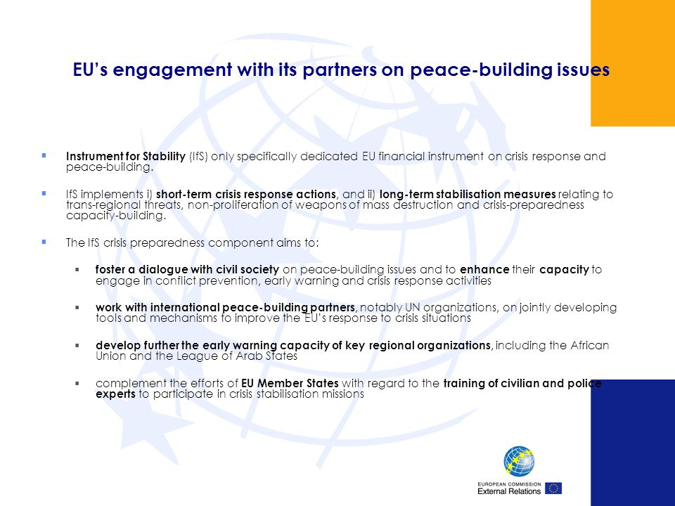 EU's engagement with its partners on peace-building issues