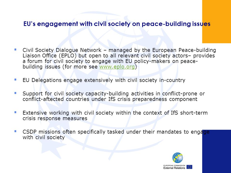 EU's engagement with civil society on peace-building issues