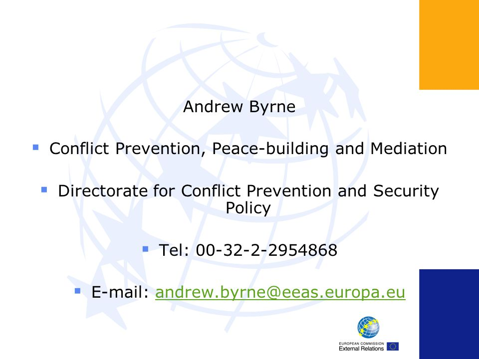 Conflict Prevention, Peace-building and Mediation