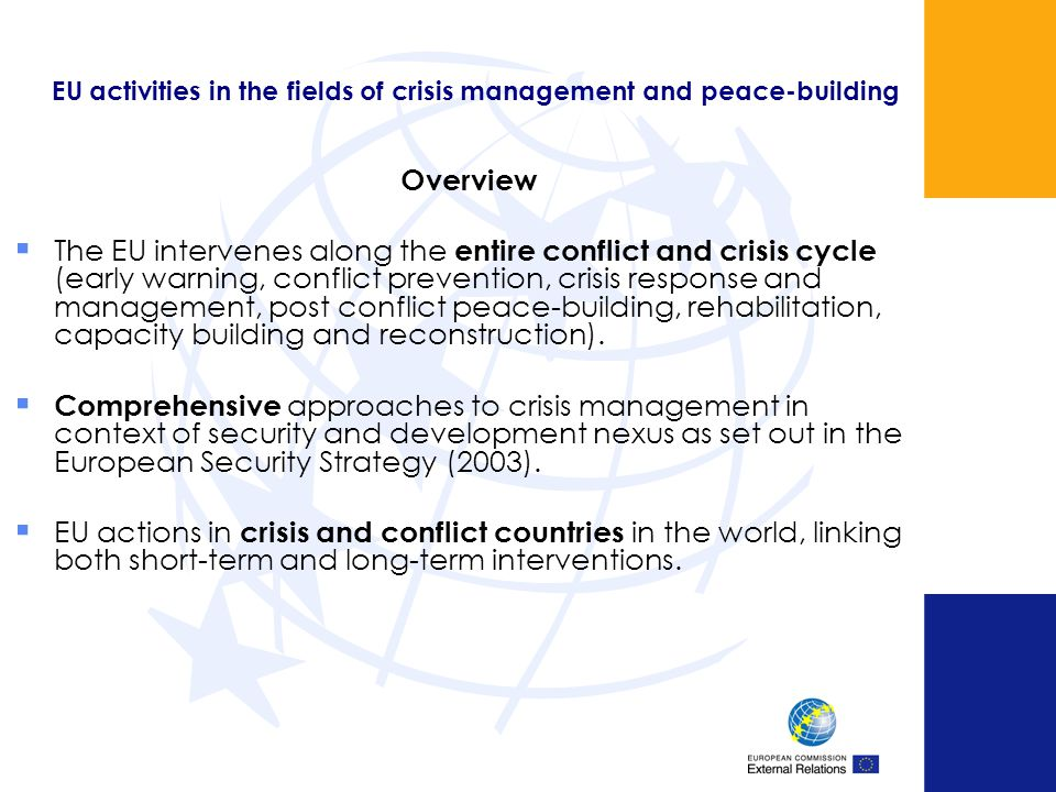 EU activities in the fields of crisis management and peace-building