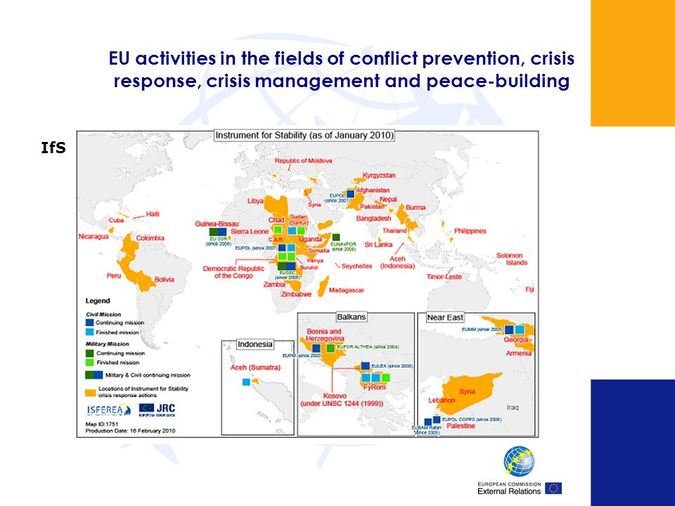 EU activities in the fields of conflict prevention, crisis response, crisis management and peace-building