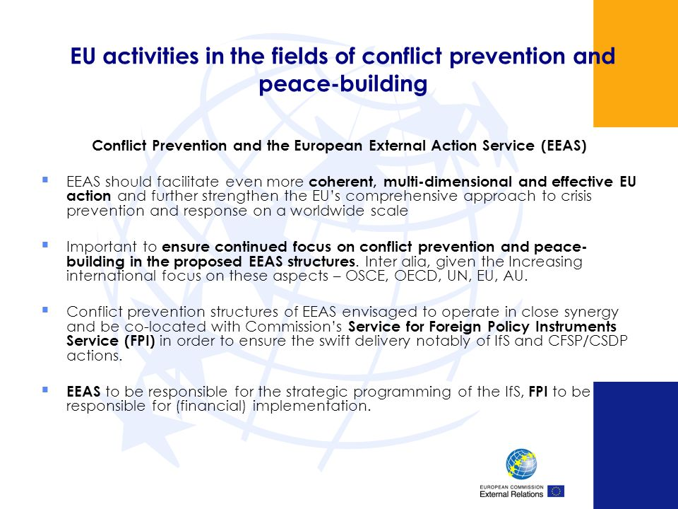EU activities in the fields of conflict prevention and peace-building
