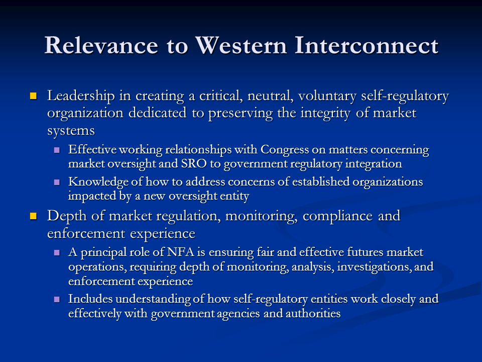 Relevance to Western Interconnect