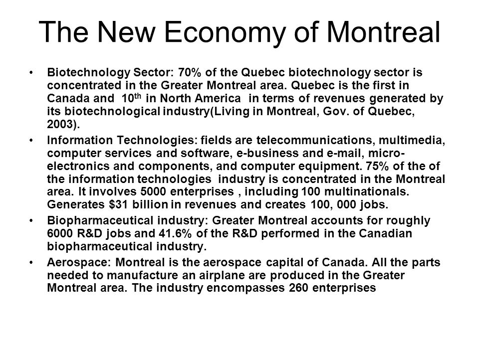 The New Economy of Montreal