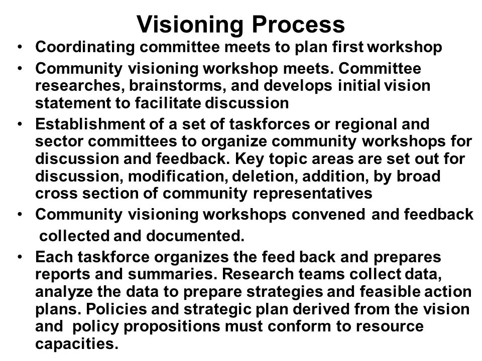 Visioning Process Coordinating committee meets to plan first workshop