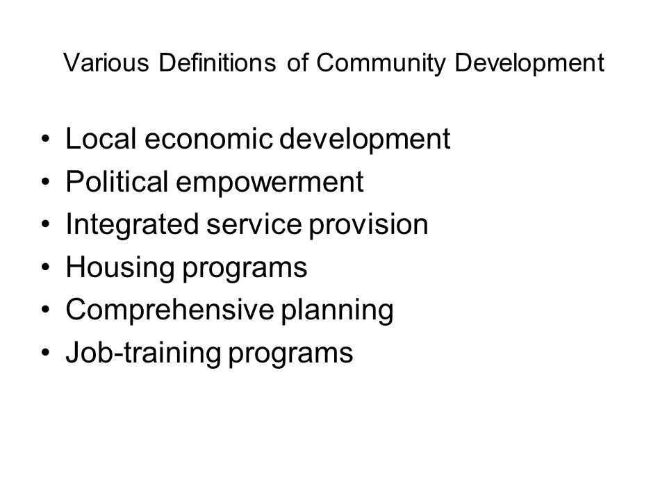 Various Definitions of Community Development