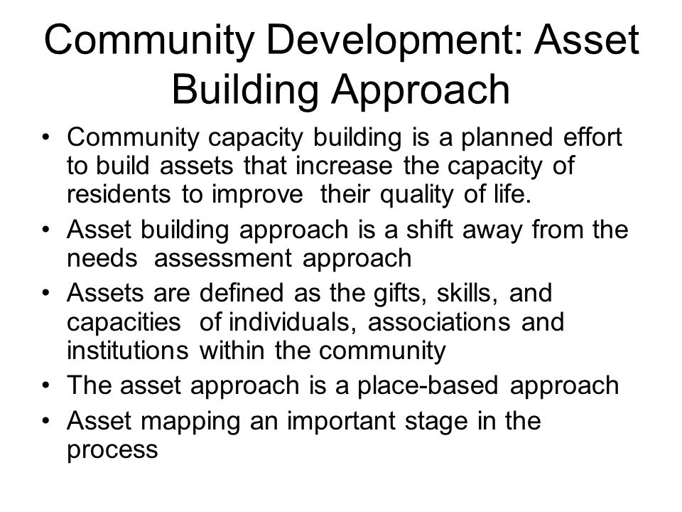 Community Development: Asset Building Approach