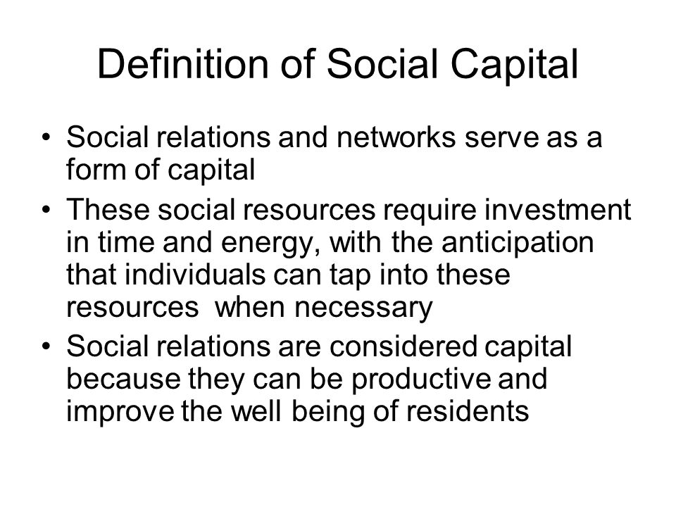 Definition of Social Capital