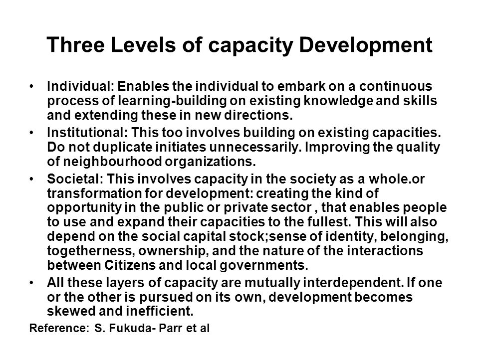 Three Levels of capacity Development