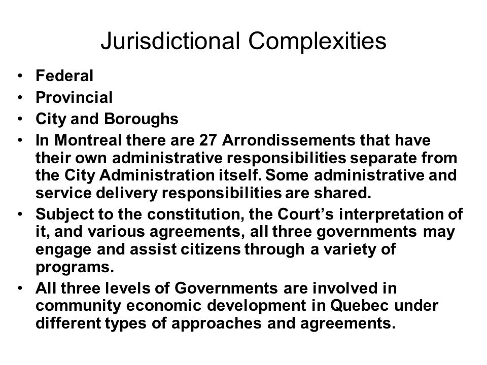 Jurisdictional Complexities