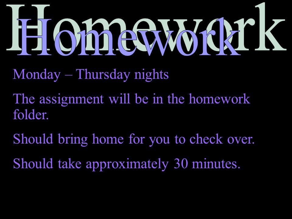 Homework Monday – Thursday nights. The assignment will be in the homework folder. Should bring home for you to check over.