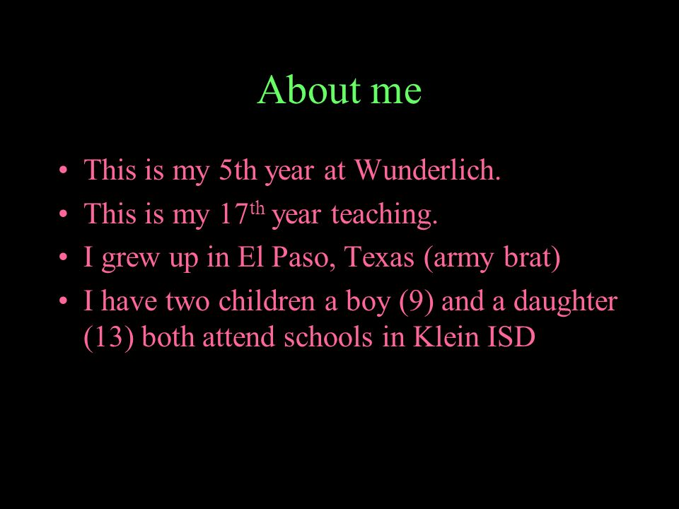 About me This is my 5th year at Wunderlich.