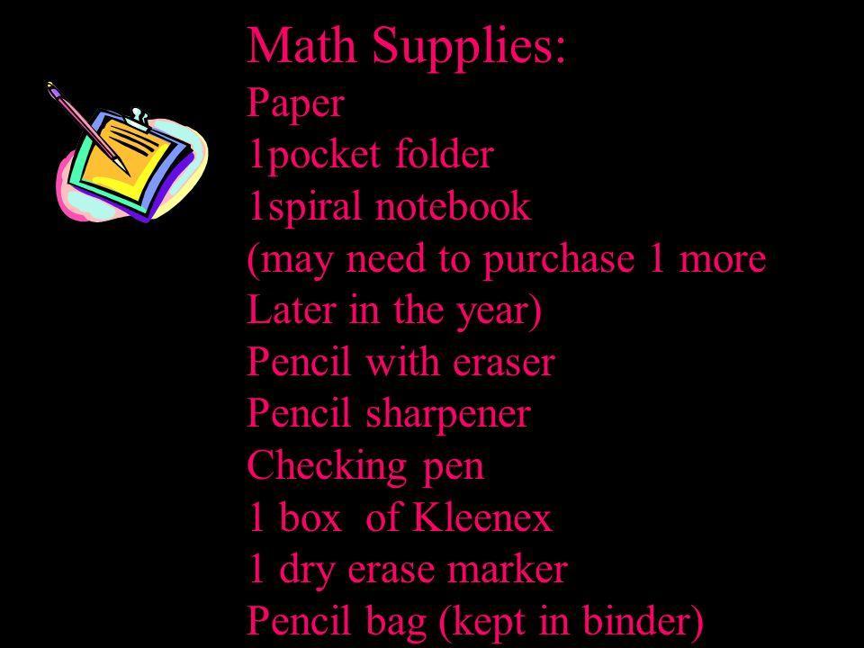 Math Supplies: Paper 1pocket folder 1spiral notebook