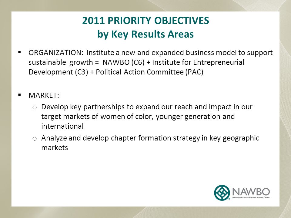 2011 PRIORITY OBJECTIVES by Key Results Areas