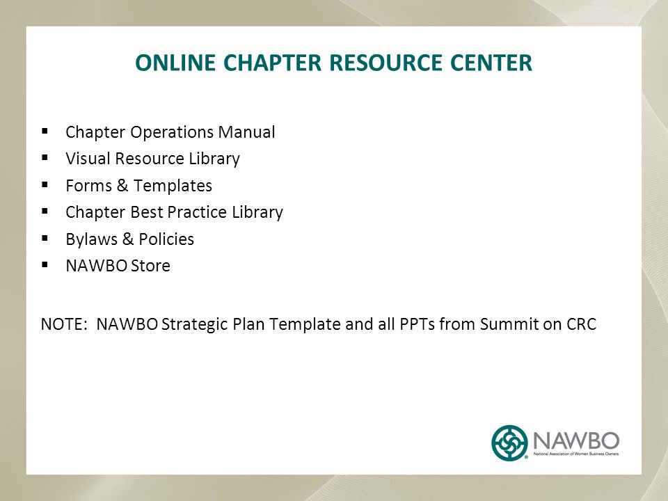 ONLINE CHAPTER RESOURCE CENTER