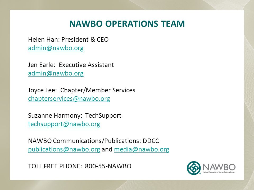 NAWBO OPERATIONS TEAM