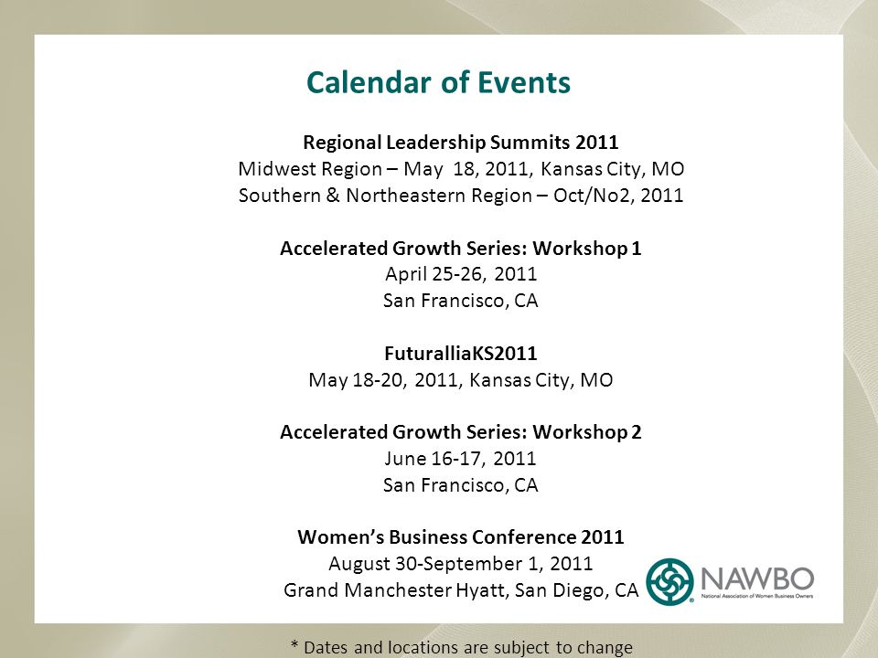 Calendar of Events Regional Leadership Summits 2011