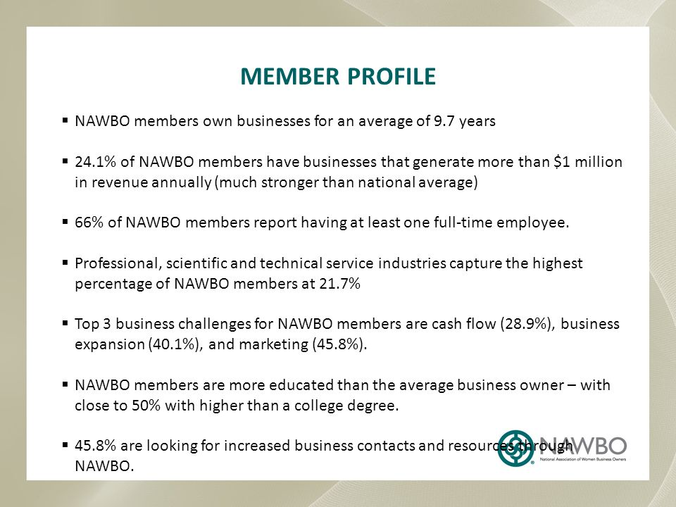 MEMBER PROFILE NAWBO members own businesses for an average of 9.7 years.