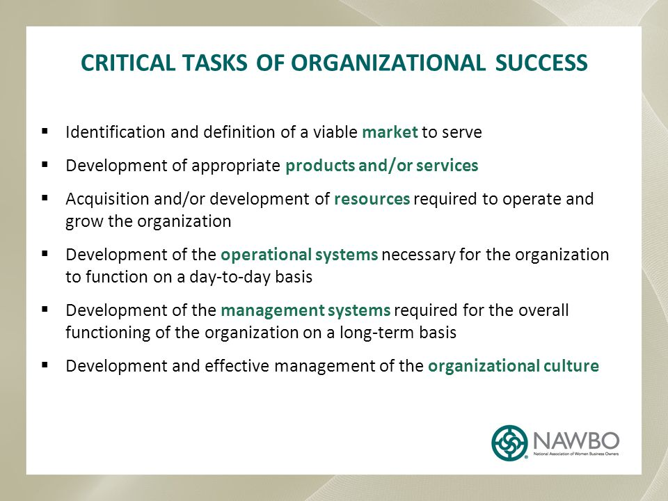 CRITICAL TASKS OF ORGANIZATIONAL SUCCESS