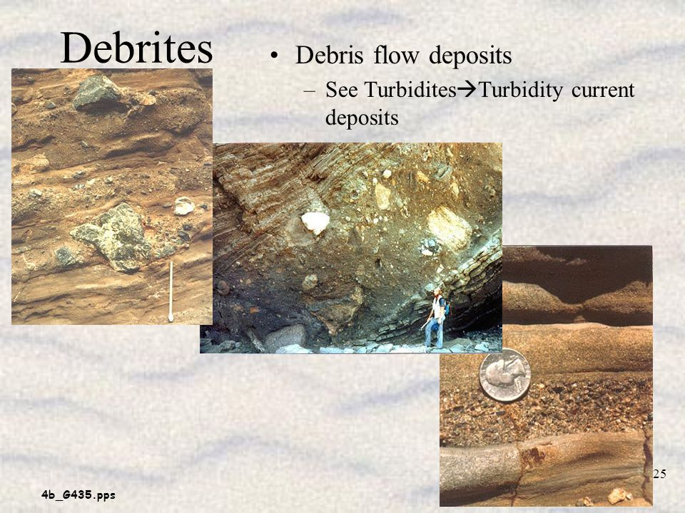Debrites Debris flow deposits