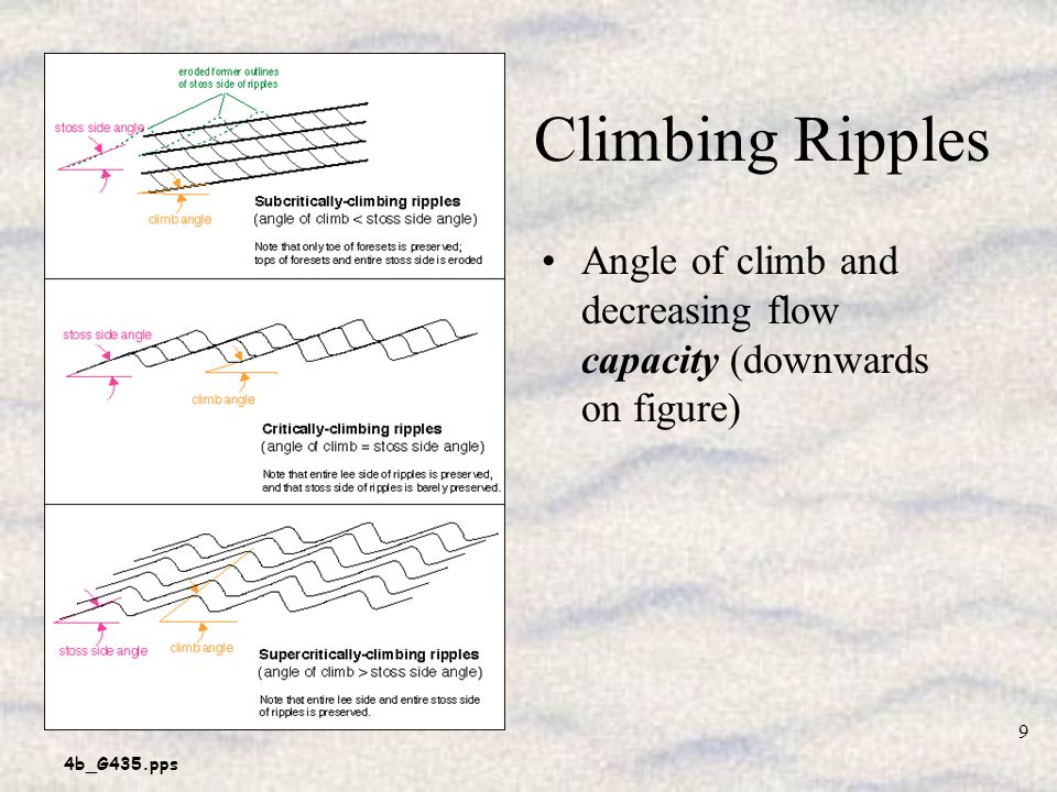 Climbing Ripples Angle of climb and decreasing flow capacity (downwards on figure)
