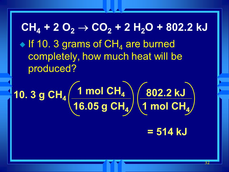 CH4 + 2 O2 ® CO2 + 2 H2O kJ If grams of CH4 are burned completely, how much heat will be produced