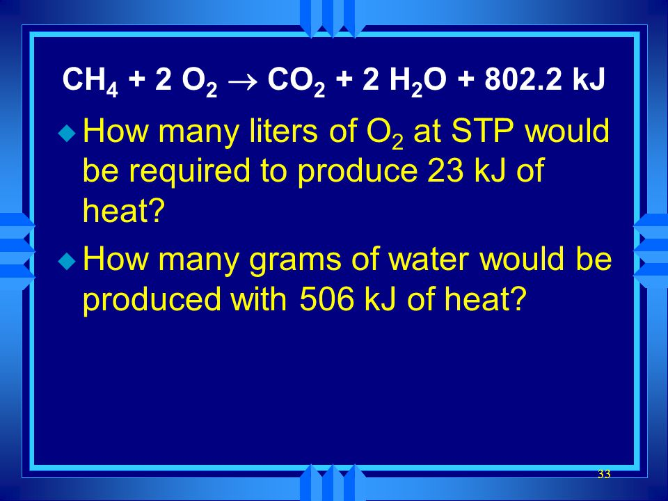 How many grams of water would be produced with 506 kJ of heat