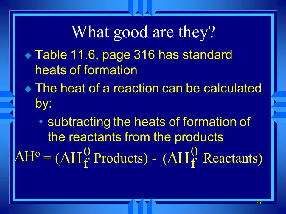 What good are they DHo = ( Products) - ( Reactants)