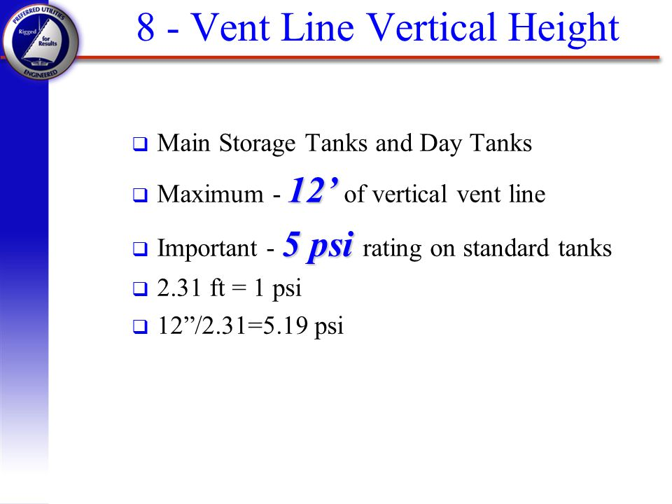 8 - Vent Line Vertical Height