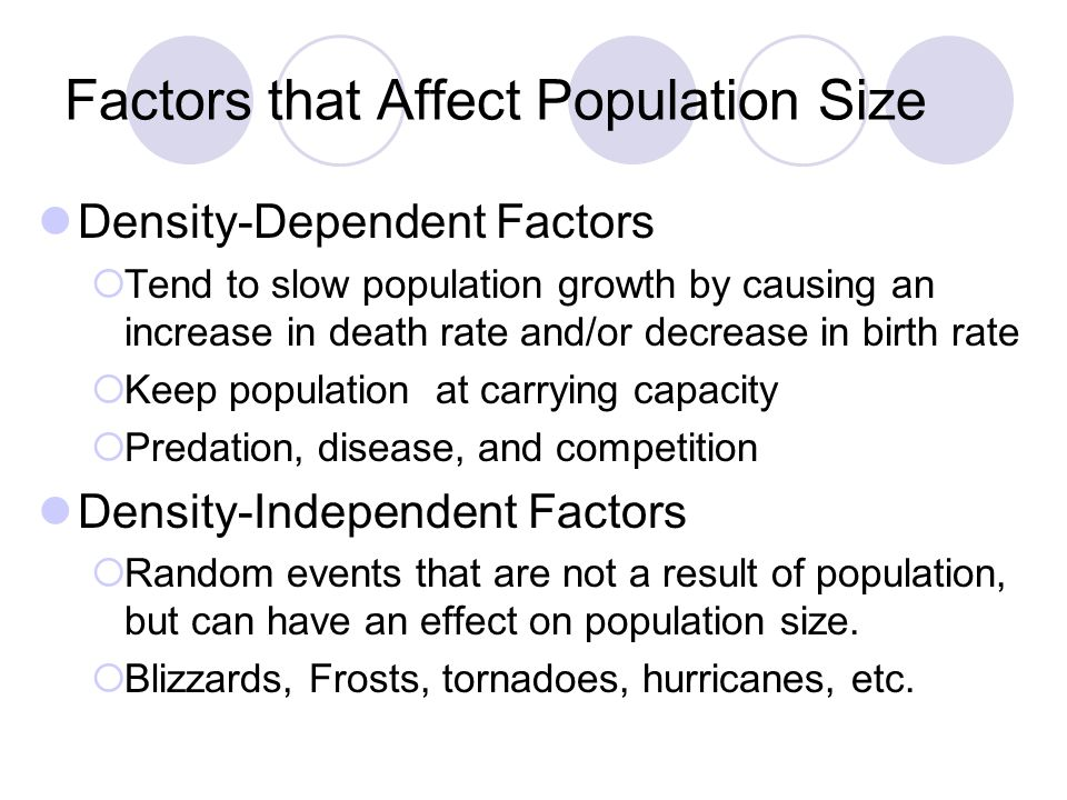 Factors that Affect Population Size