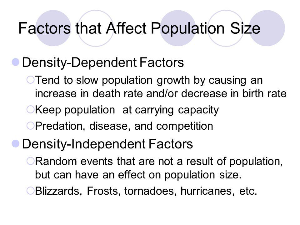 Factors that Affect Population Size