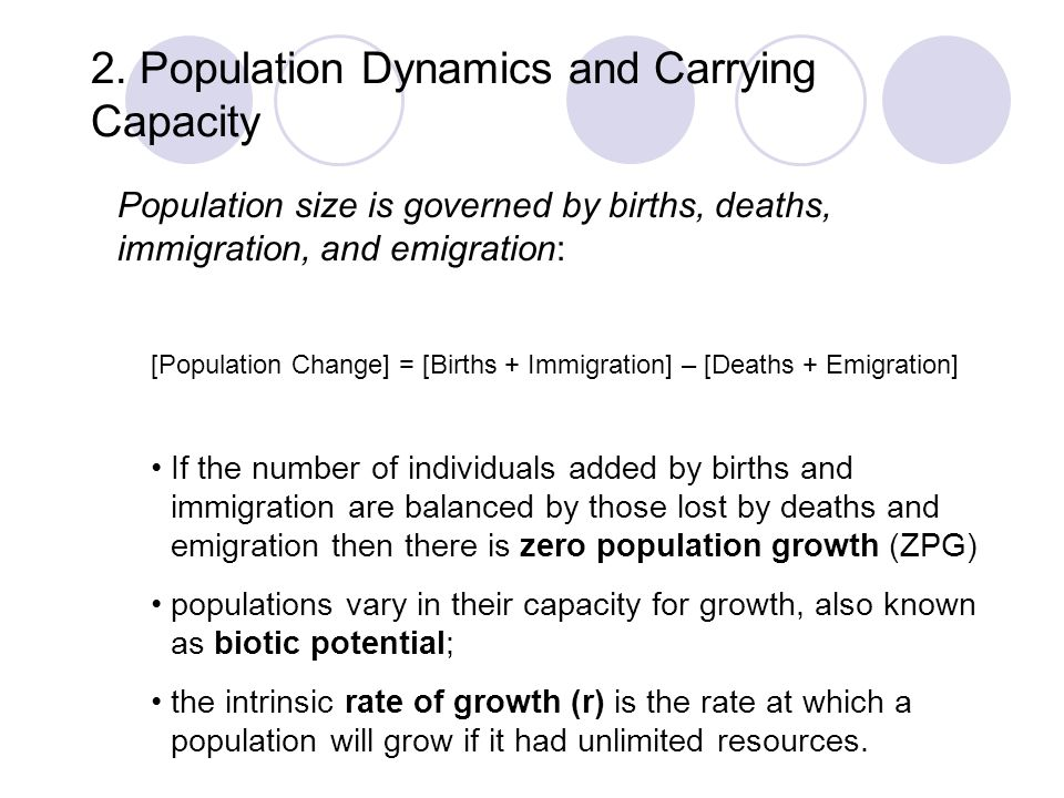 2. Population Dynamics and Carrying Capacity