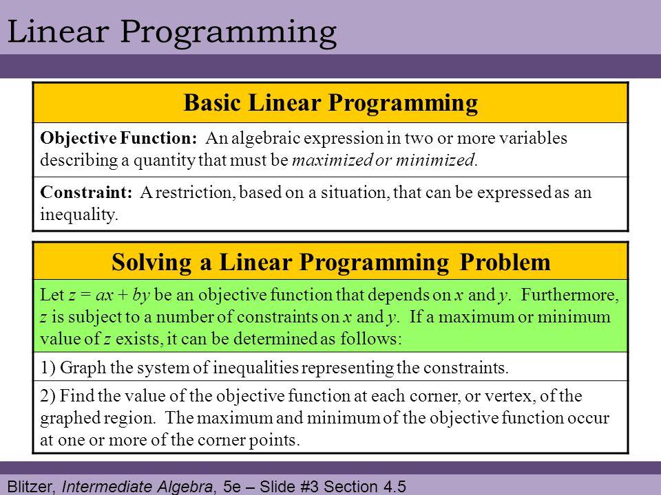 Basic Linear Programming Solving a Linear Programming Problem
