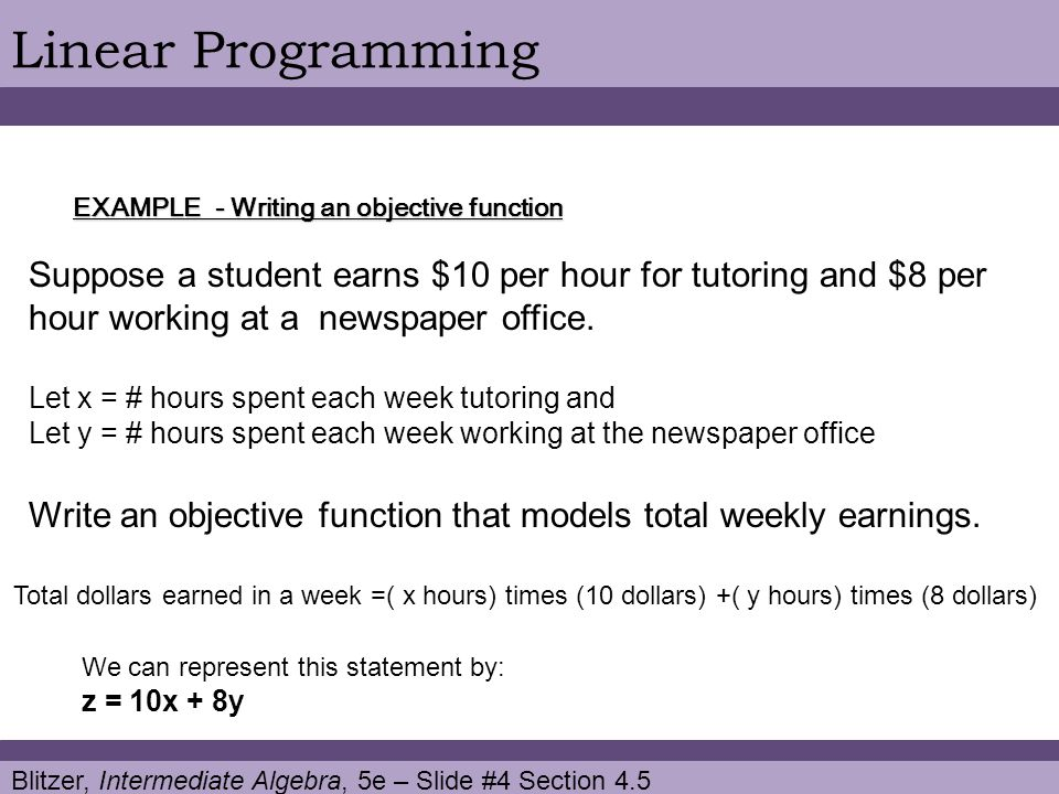 Linear Programming EXAMPLE - Writing an objective function.