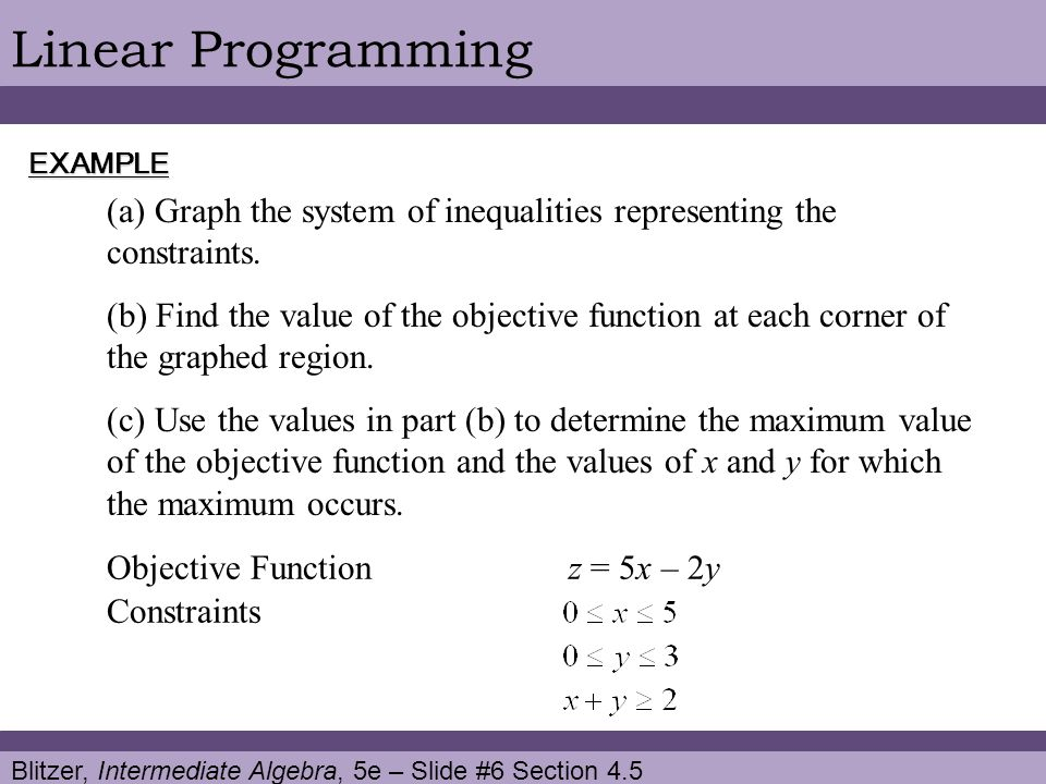Linear Programming EXAMPLE. Graph the system of inequalities representing the constraints.