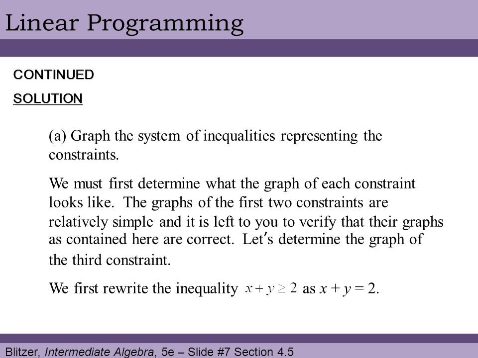 Linear Programming CONTINUED. SOLUTION. Graph the system of inequalities representing the constraints.