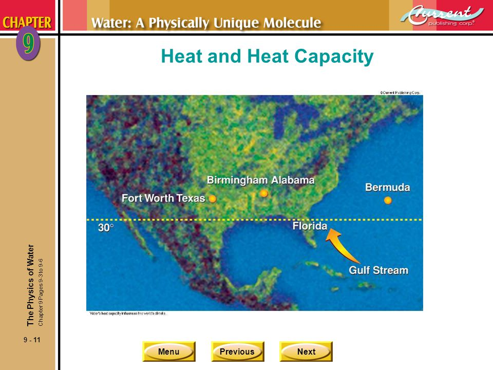 Heat and Heat Capacity The Physics of Water Chapter 9 Pages 9-3 to 9-6