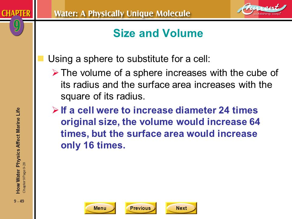 Size and Volume Using a sphere to substitute for a cell: