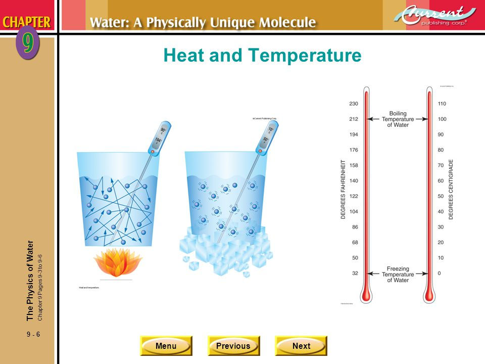 Heat and Temperature The Physics of Water Chapter 9 Pages 9-3 to 9-6