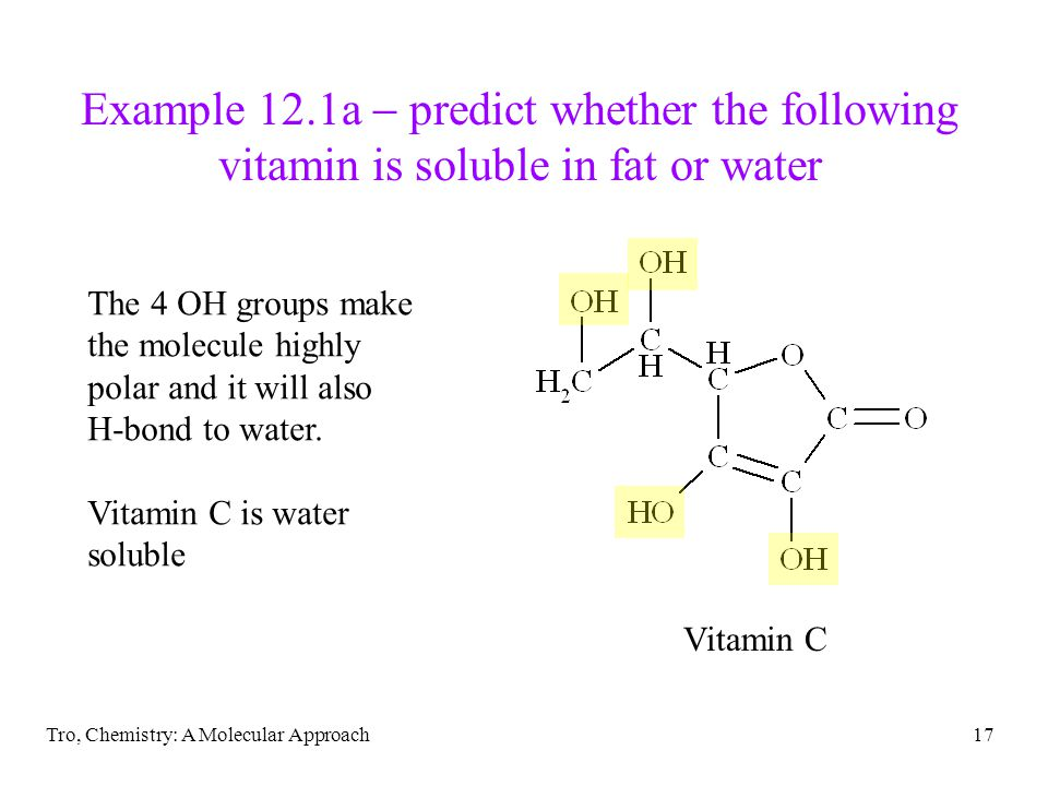 Example 12.1a  predict whether the following vitamin is soluble in fat or water
