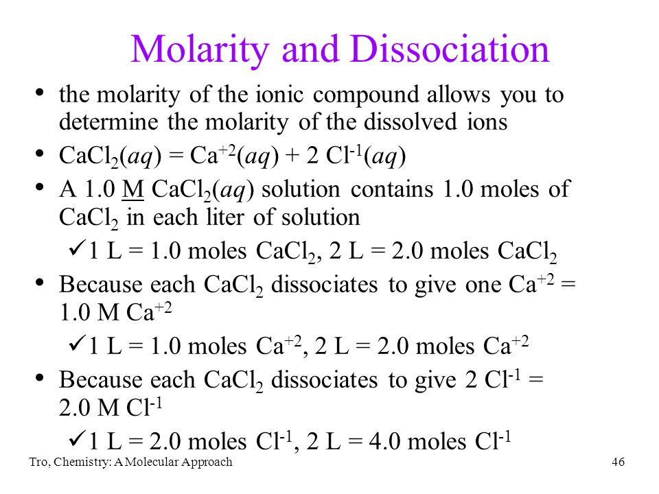 Molarity and Dissociation