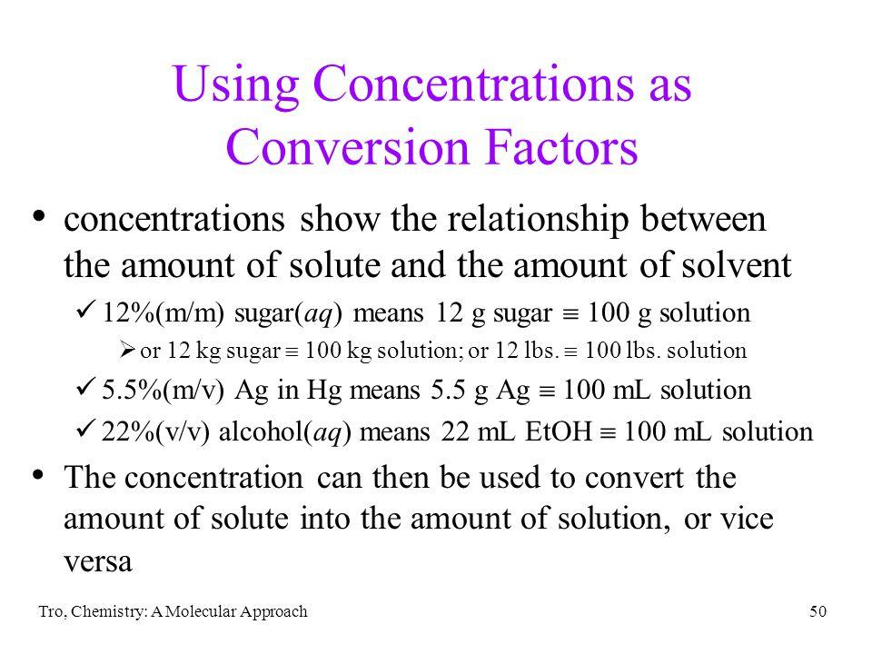 Using Concentrations as Conversion Factors
