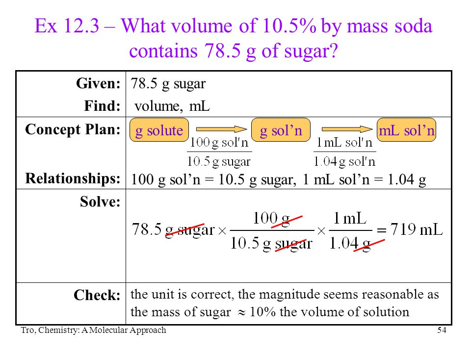 Ex 12.3 – What volume of 10.5% by mass soda contains 78.5 g of sugar