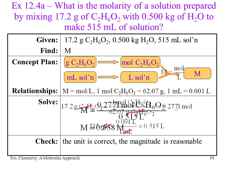 Ex 12. 4a – What is the molarity of a solution prepared by mixing 17