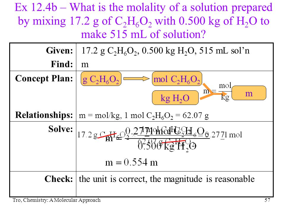Ex 12. 4b – What is the molality of a solution prepared by mixing 17