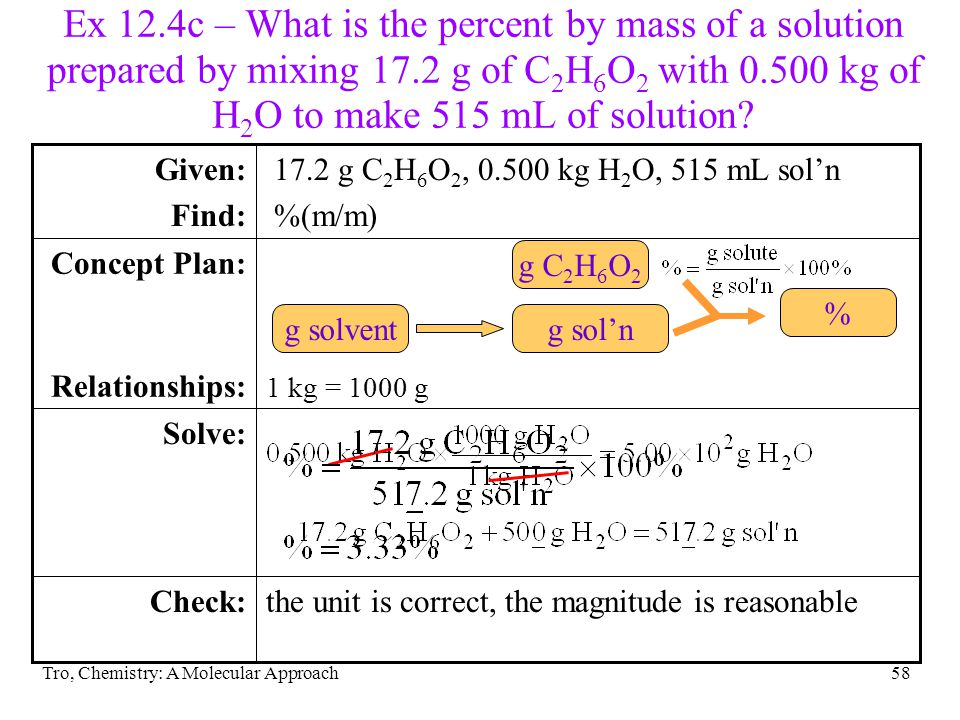 Ex 12.4c – What is the percent by mass of a solution prepared by mixing 17.2 g of C2H6O2 with 0.500 kg of H2O to make 515 mL of solution