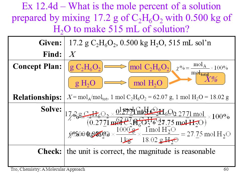 Ex 12.4d – What is the mole percent of a solution prepared by mixing 17.2 g of C2H6O2 with 0.500 kg of H2O to make 515 mL of solution