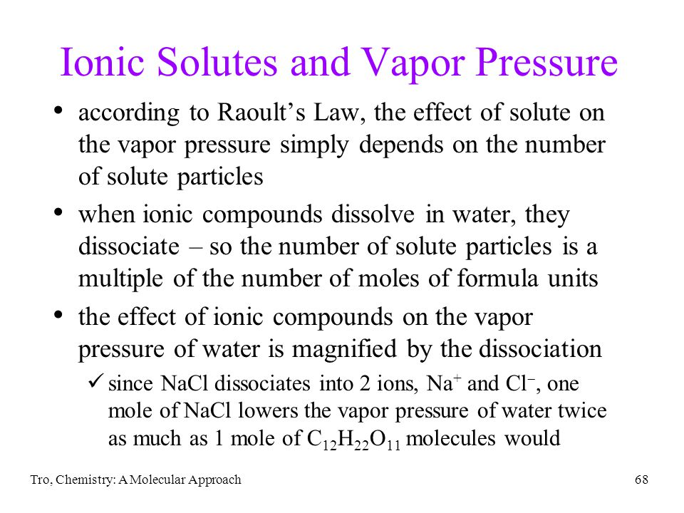 Ionic Solutes and Vapor Pressure