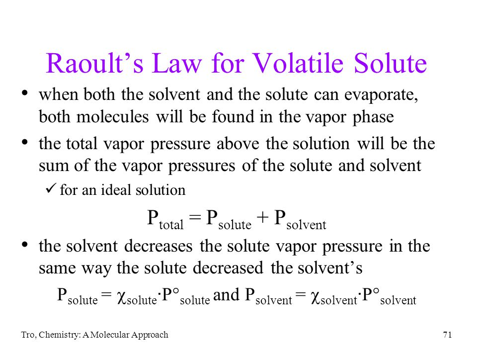Raoult's Law for Volatile Solute