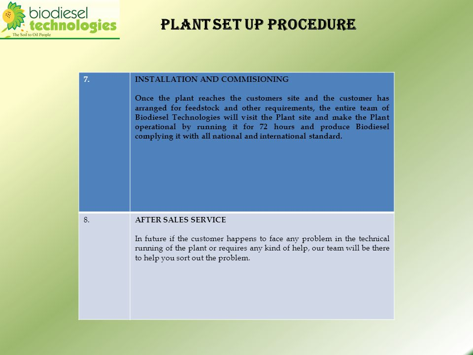 Plant set up procedure 7. INSTALLATION AND COMMISIONING